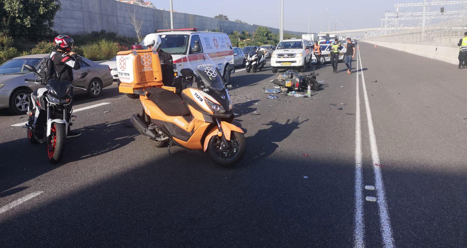 תאונת אופנוע ליד כפר שמריהו 07.01.2021