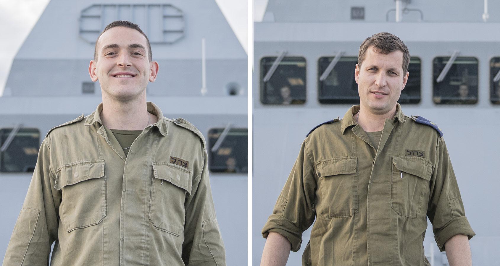 ואדים קורנבליט (מימין) ורועי דור. משרתים על ספינת הטילים